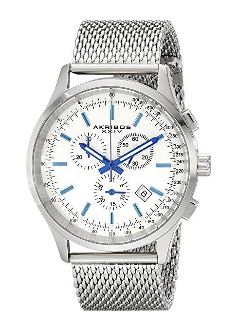 Akribos XXIV Men's AK625SS Round Silver Dial Chronograph Watch