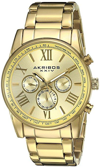 Akribos XXIV Men's AK904YG Gold-Tone Watch