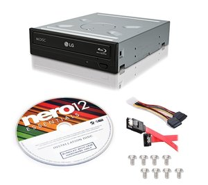 LG WH14NS40 M-Disc Burner 3D Playback Internal 14X Blu-ray Writer with Nero 12 Essentials Burning Software Trial Version and SATA Cable Kit