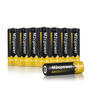M2cpower® NiMH 2800mAh AA Rechargeable Batteries (8 Pack)