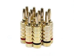 Monoprice 109436 24k Gold Plated Speaker Banana Plugs, Closed Screw Type (5 Pairs)