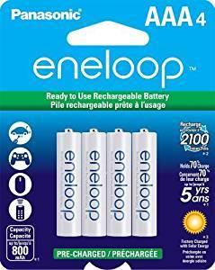 Panasonic BK-4MCCA4BA eneloop AAA 2100 Cycle Ni-MH Pre-Charged Rechargeable Batteries, 4 Pack