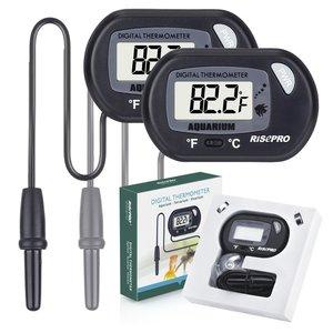 RISEPRO Aquarium Thermometer, 2 pack Digital Water Thermometer For Fish Tank Aquarium Marine Temperature Vivarium Reptile Terrarium