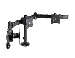 """Sewell Triple Monitor Mount, Supports up to 3 24"""" Monitors. 360 Degree Rotation of Screens"""