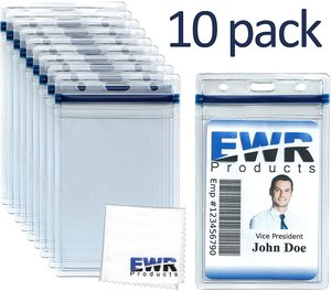 10 Heavy Duty ID Badge Holders Clear Vertical Vinyl PVC with Blue Resealable Zip