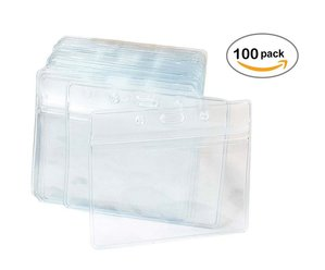 100 Pcs Clear Plastic Horizontal Name Tag Badge ID Card Holders