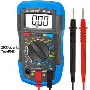 Digital Multimeter, HOLDPEAK 36C Manual-Ranging Multi Tester for Measuring Voltage, Current, Resistance, Capacitance, Diode, Transistor and hfE of 2000 count (Blue)