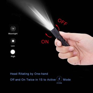 GLAREE E03 Keychain Flashlight, CREE LED 150 Lumens Mini Torch AAA Battery EDC Pocket Penlight Portable Emergency Light