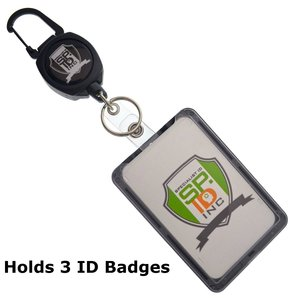 Super Heavy Duty Sidekick Retractable Badge and Key Reel - Carabiner Clip - with THREE Card ID Badge Holder by Specialist ID