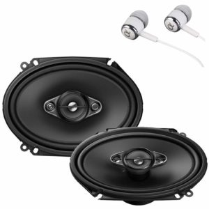 """Pioneer TS-A6880F 6"""" x 8"""" 350 Watts Max Power A-Series 4-Way Car Audio Coaxial Speakers Pair with Fiber Cone Midrange/Free ALPHASONIK Earbuds"""