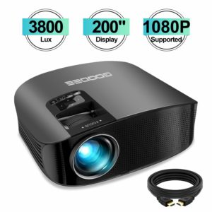 """Projector, GooDee HD Video Projector 3800L Outdoor Movie Projector, 200"""" Home Theater Projector Support 1080P, Compatible with Fire TV Stick, PS4, HDMI, VGA, AV and USB"""