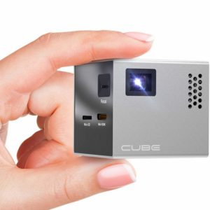 RIF6 Cube Full LED Mini Projector - 1080p Supported Portable Projector with Built-in Speakers, HDMI Input for Smartphone, Laptop, and Home Theater - Includes Tripod and Remote
